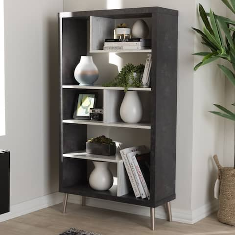 Contemporary Brown and Grey Display Shelf by Baxton Studio