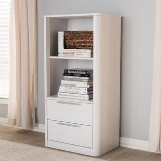 Contemporary Whitewashed 2-Drawer Bookcase by Baxton Studio