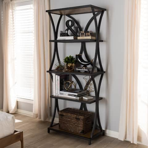 Rustic Brown and Black Bookshelf
