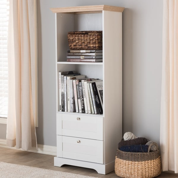 Contemporary Oak And White Two Tone Bookcase By Baxton Studio