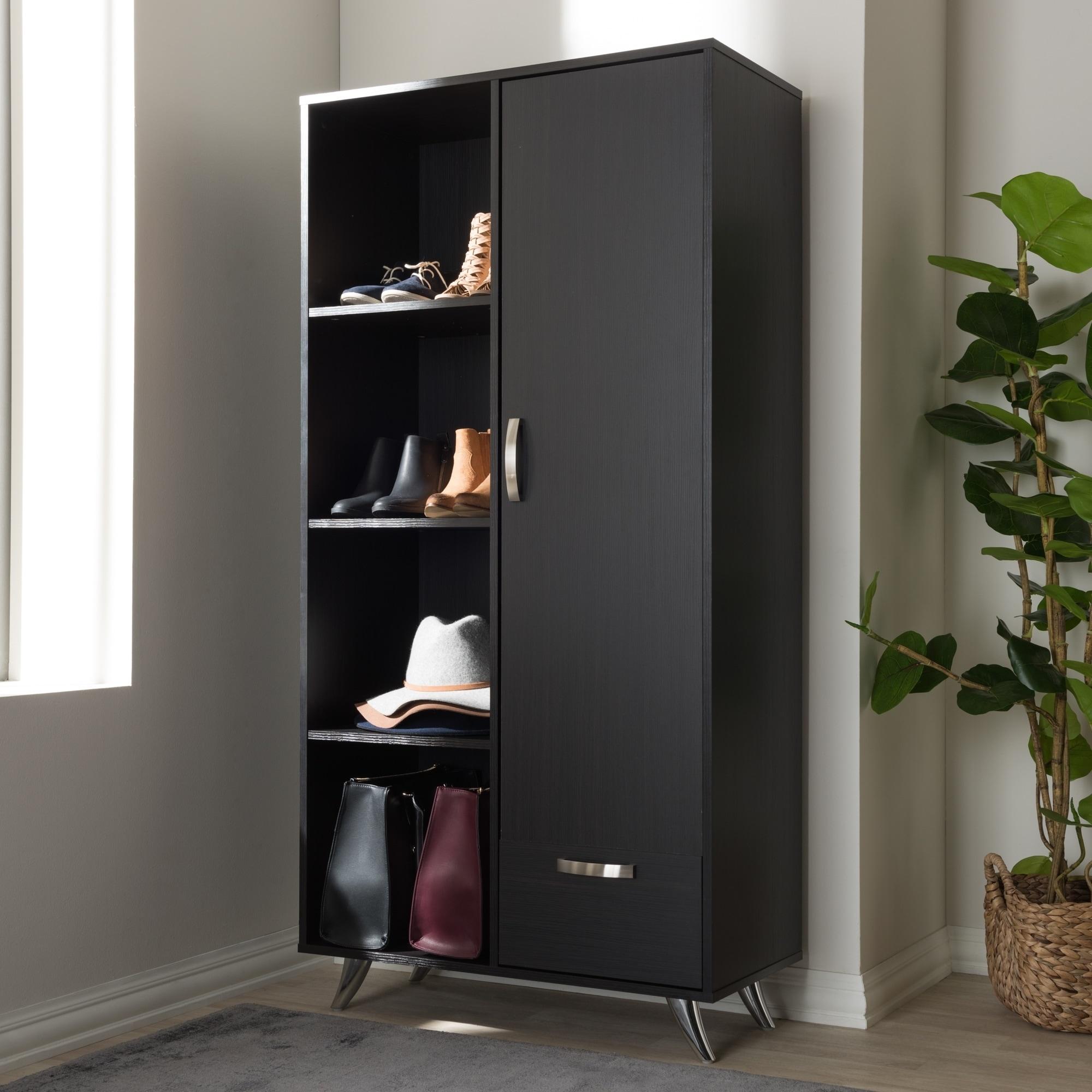 Baxton Studio Contemporary Dark Brown Wood, MDF Bookcase ...