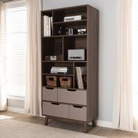 Mid-Century Brown and Grey Bookcase by Baxton Studio