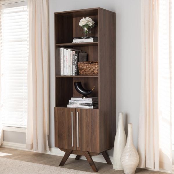 Mid Century Brown Bookcase By Baxton Studio