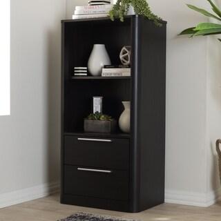 Contemporary Dark Brown 2-Drawer Bookcase by Baxton Studio