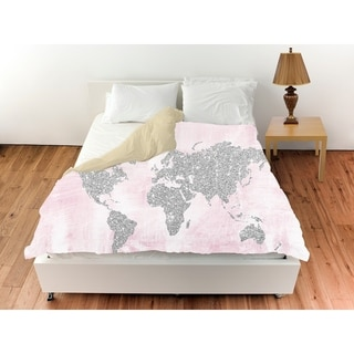 Oliver Gal 'Pink and Silver Glitter Map'Duvet Cover