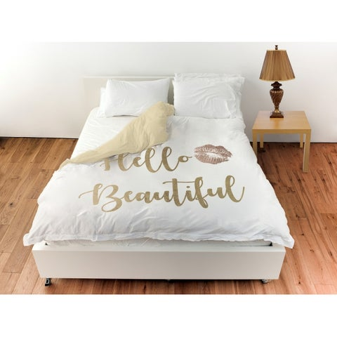 Oliver Gal 'Hello Beautiful Gold and Leather'Duvet Cover