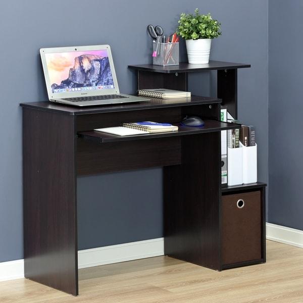 Furinno 12095DWN Econ Multipurpose Home Office Computer Writing Desk W/Bin,  Dark Walnut