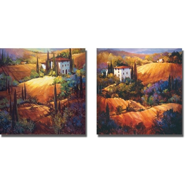 Morning Light Tuscany and Evening Glow Tuscany by Nancy O'Toole 2-piece Gallery-Wrapped Canvas Giclee Art Set