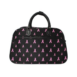 World Traveler Pink Ribbon Cancer Awareness Shoulder Duffle Bag