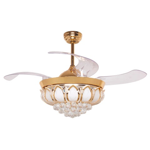 Foldable 4-Blades Crystal LED Ceiling Fan with Remote