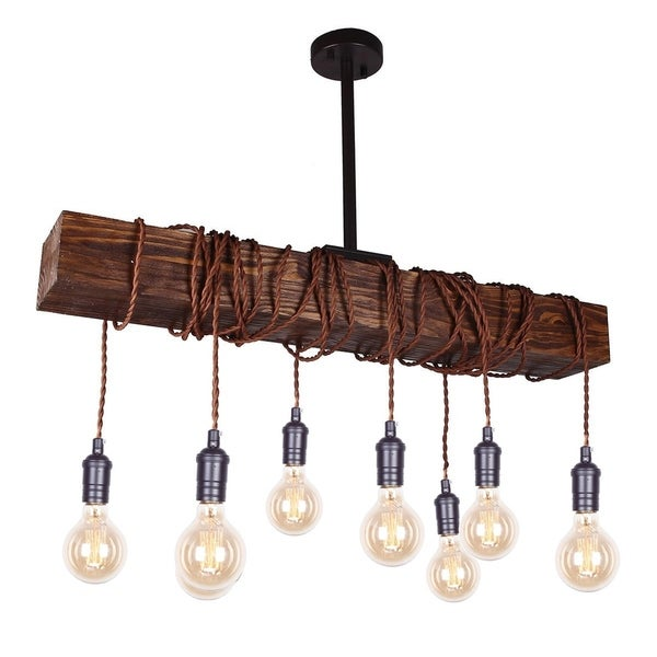 8-light Wood Beam Chandelier