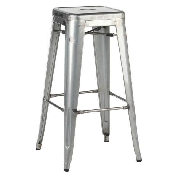Incredible Shop Distressed Silvertone Metal 30 Inch Industrial Bar Creativecarmelina Interior Chair Design Creativecarmelinacom