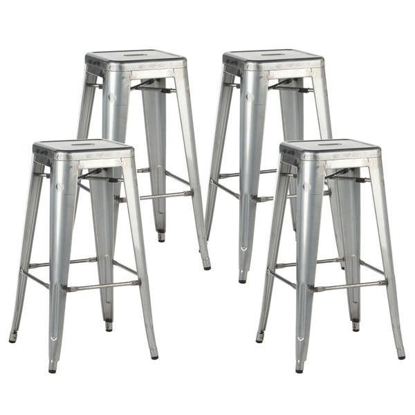 Pleasing Shop Distressed Silvertone Metal 30 Inch Industrial Bar Creativecarmelina Interior Chair Design Creativecarmelinacom
