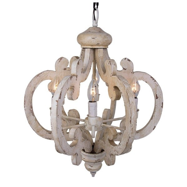 6 Light Distressed Antique White Wooden Chandelier