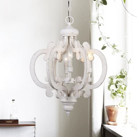 6-light Distressed Antique White Wooden Chandelier