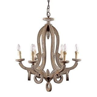 Brown 6-light Candelabra Wood Chandelier