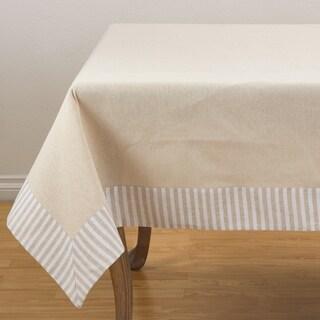 Striped Border Printed Design Cotton Linen Tablecloth