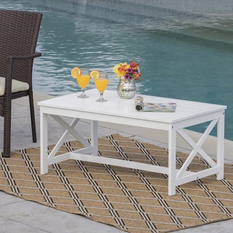 Ivan Outdoor Rectangle Wood Coffee Table by Christopher Knight Home