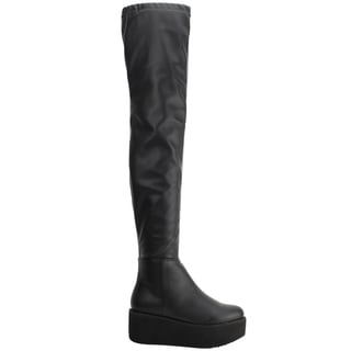 Beston EJ55 Women's Stretchy Platform Over Knee Boots One Size Small
