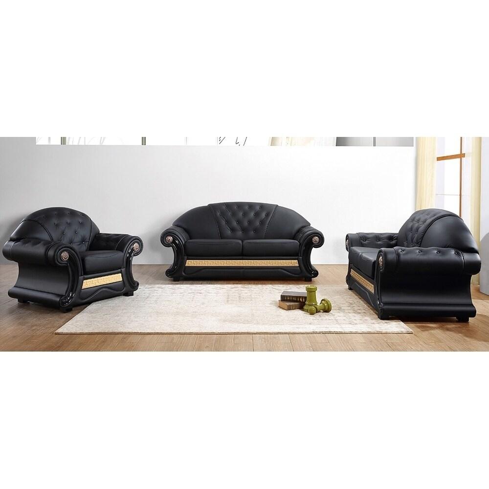 Sobrante Elegant Black Leather 3-piece Living Room Set
