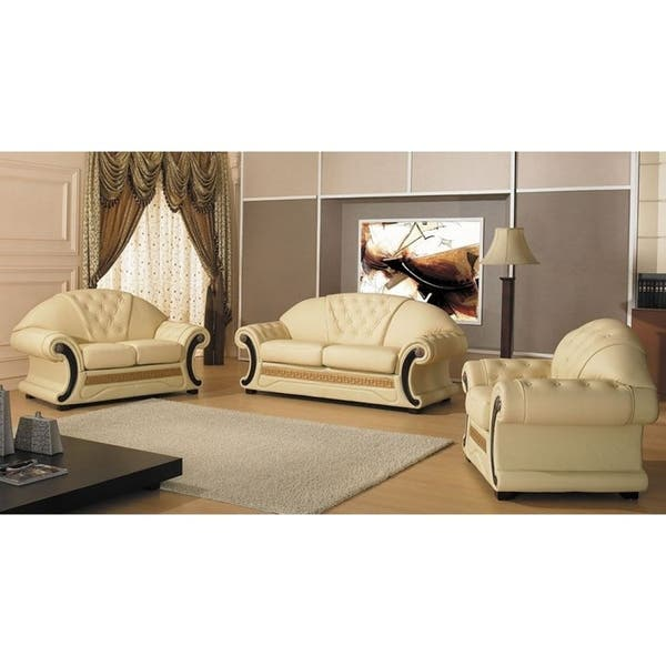 Shop Sobrante Elegant Cream Leather 3-piece Living Room Set ...