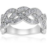 Bliss 14k White Gold 1 ct TDW Crossover Multi Row Diamond Ring - White F