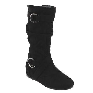 Forever FM68 Women's Cut Out Side Zipper Strap Buckle Flat Heel Slouchy Boots
