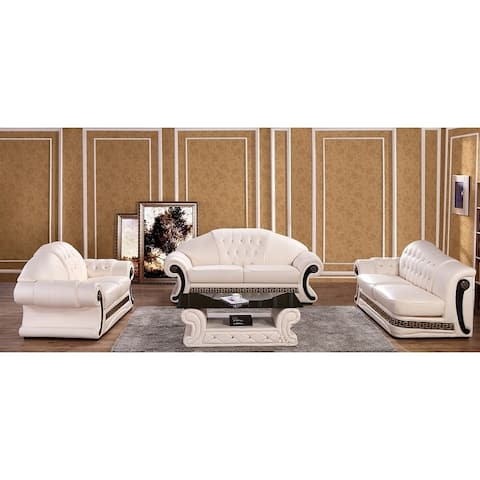 Utica Cream Italian Leather Sofa, Loveseat and Chaise Set