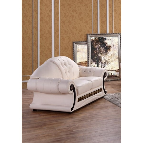 Utica Cream Italian Leather Sofa Loveseat and Chaise Set - Free Shipping Today - Overstock.com - 24370271  sc 1 st  Overstock : sofa loveseat and chaise set - Sectionals, Sofas & Couches