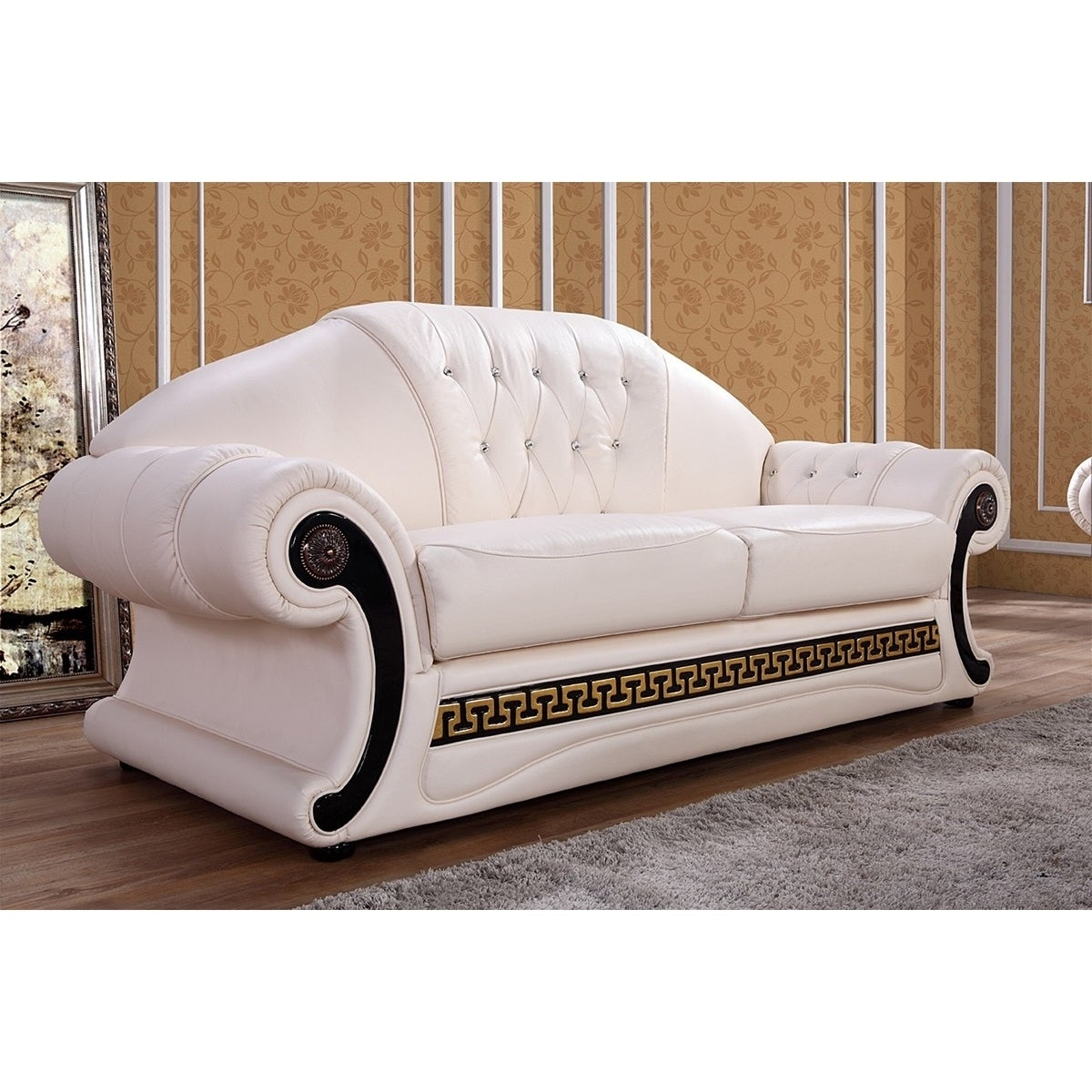 Shop Black Friday Deals On Utica Cream Italian Leather Sofa Loveseat And Chaise Set On Sale Overstock 18230044