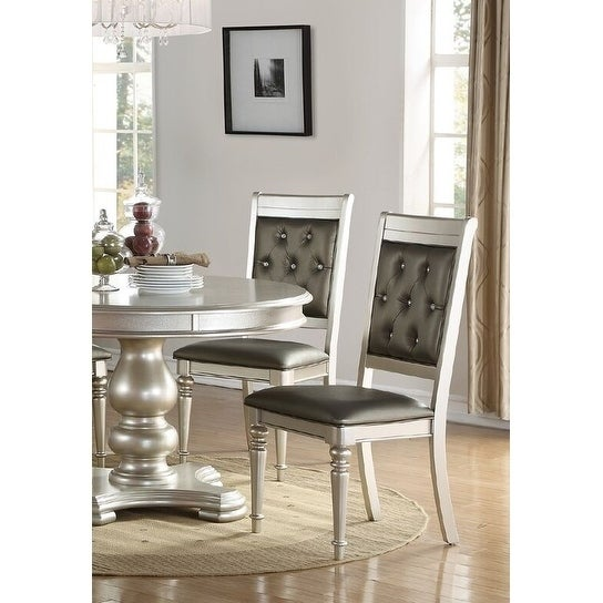 Dollis Metallic Silver Wood And Grey Leatherette Rhinestone Tufted Dining  Chairs (Set Of 4)   Free Shipping Today   Overstock.com   24370287
