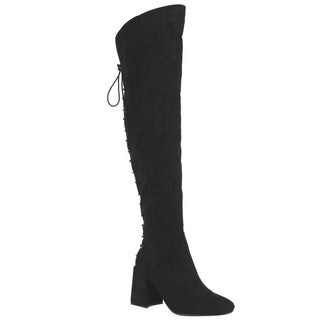 NATURE BREEZE EI90 Women's Lace Up Back Wrapped Block Heel Thigh High Boots