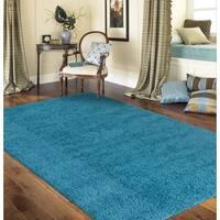 Porch & Den Marigny Kerlerec Solid Turquoise Indoor Shag Area Rug - 3'3 x 5'