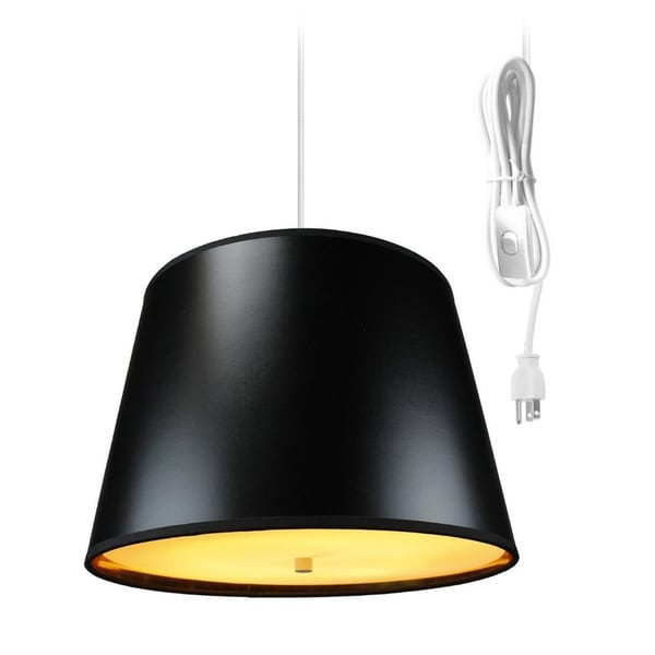 Black Gold-Lined 2 Light Swag Plug-In Pendant with Diffuser shade -