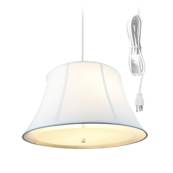 WHITE 2 Light Swag Plug-In Pendant with Diffuser