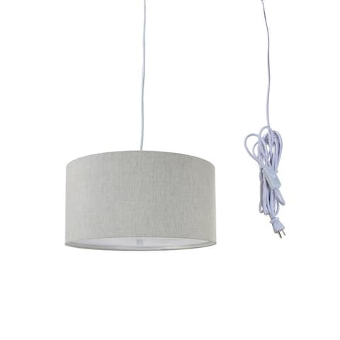 """2 Light Swag Plug-In Pendant 14""""w Textured Oatmeal with Diffuser, White Cord"""