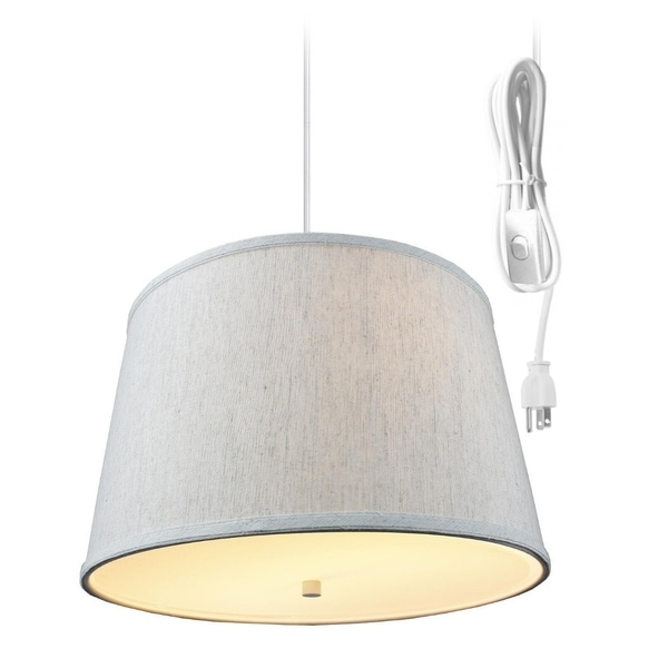 2 Light Swag Plug-In Pendant with Diffuser Textured Oatmeal