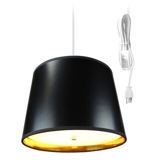 Black Gold-Lined 2 Light Swag Plug-In Pendant with Diffuser