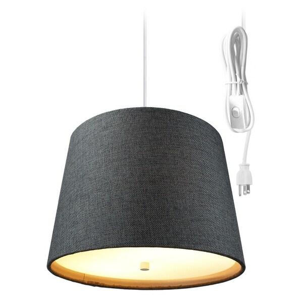Drum 2 Light Swag Plug-In Pendant with Diffuser - Granite Grey Burlap