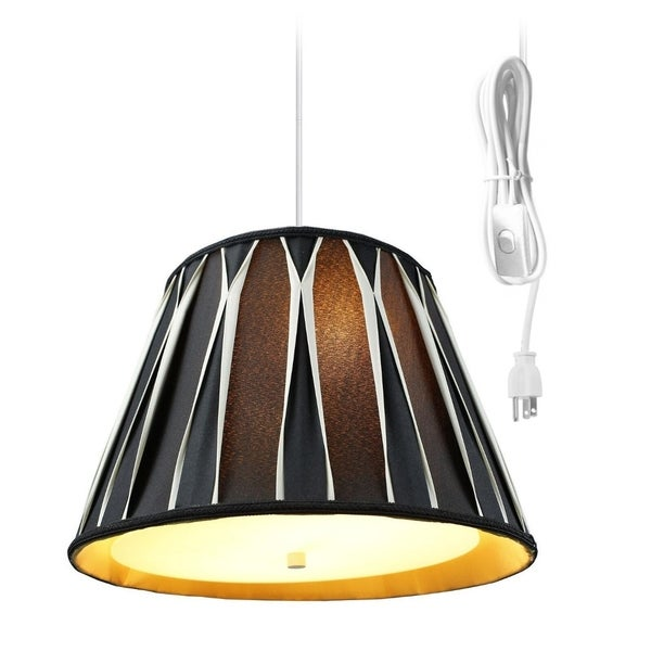 Sand Linen 2 Light Swag Plug-In Pendant with Diffuser