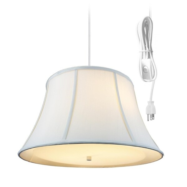 Egg Shell 2 Light Swag Plug-In Pendant with Diffuser - Eggshell