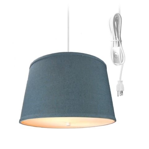 """2 Light Swag Plug-In Pendant 16""""w Textured Slate Blue with Diffuser, White Cord"""