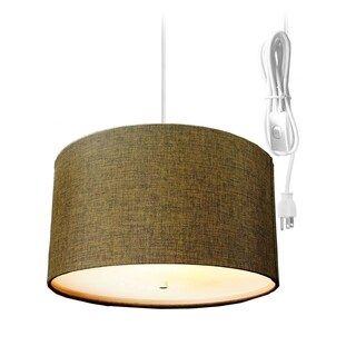 Chocolate Burlap 2 Light Swag Plug-In Pendant with Diffuser