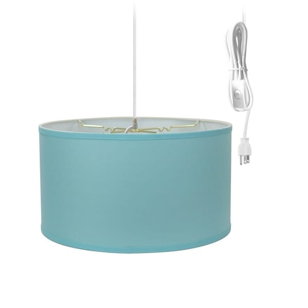 1-Light Plug In Swag Pendant Ceiling Light Island Paridise Blue Shade