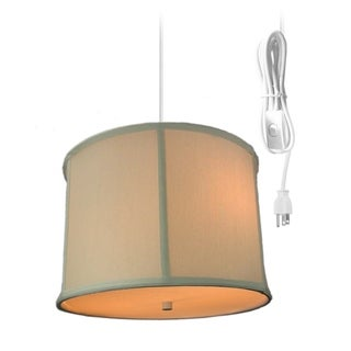 2 Light Swag Plug-In Pendant with Diffuser - Light Oatmeal Drum