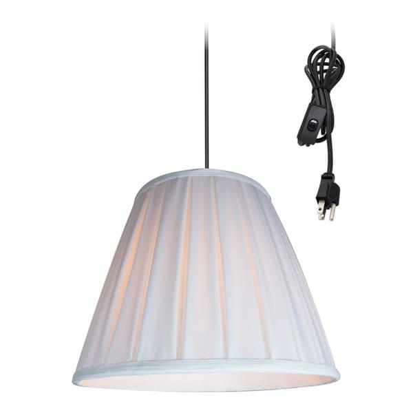 14w 1-Light Plug-In Swag Pendant Lamp White