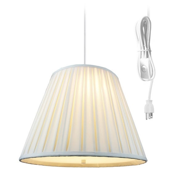 Empire Box Pleat Egg Shell 2 Light Swag Plug-In Pendant with Diffuser 11x18x13 - Eggshell