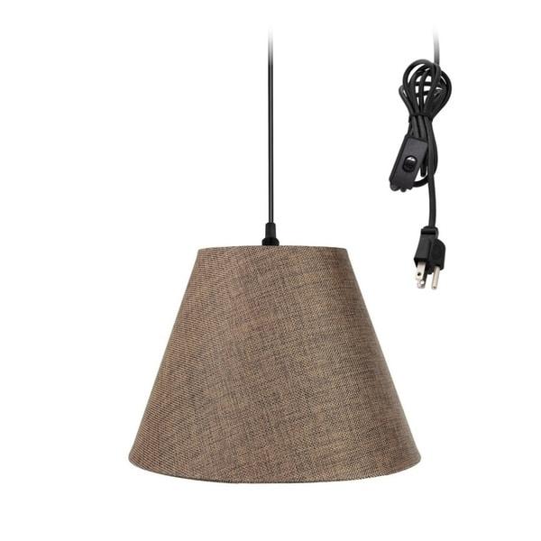 1-Light Plug In Swag Pendant Ceiling Light Chocolate Burlap Shade