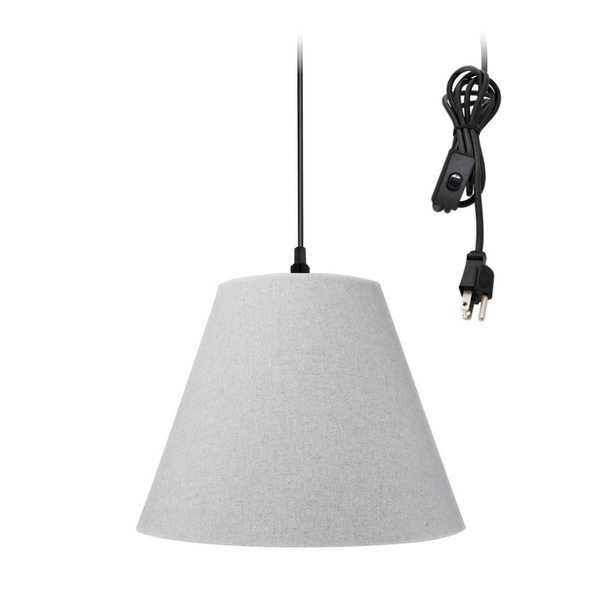 Swag Pendant Plug-In One Light Sand Linen Shade