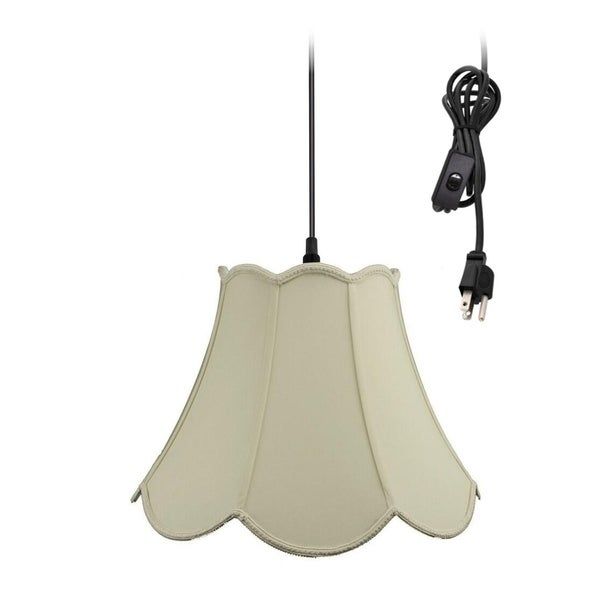 1-Light Plug In Swag Pendant Lamp Eggshell Shade